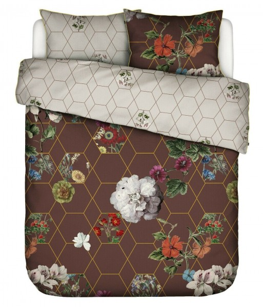 Essenza Satin Bettwäsche Abigail Brown Blumen Rauten Braun Rot Gold 135x200