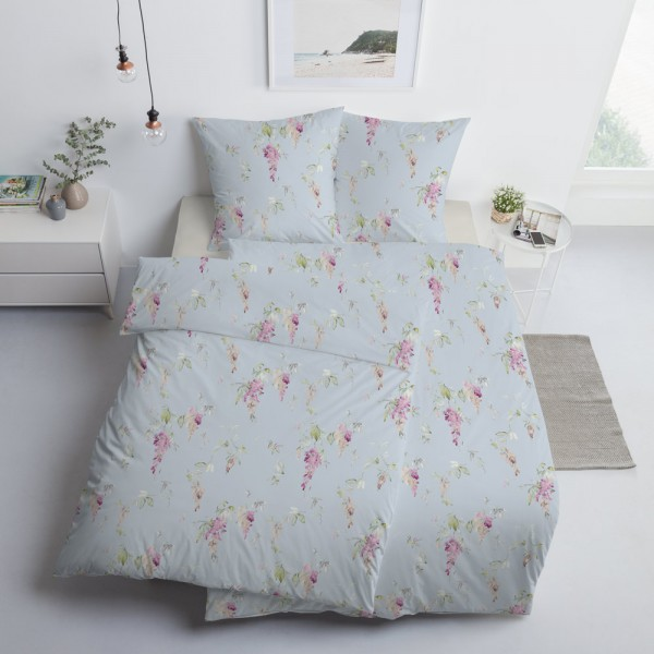 Estella Interlock Jersey Bettwäsche Cataleya 6157-160 Blau Rosa Blumen 135x200