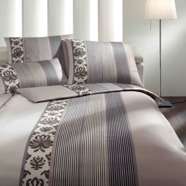 JOOP! Mako Satin Bettwäsche Ornament Stripes 4022/7 Graphit Grau 155x220 cm