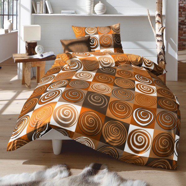 Fleuresse Mako Satin Bettwäsche Vivian 112458 3 Kreise Orange Beige