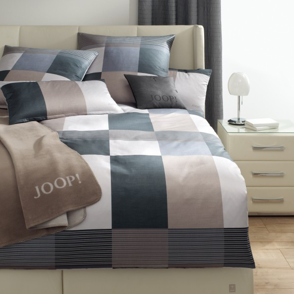 JOOP! Mako Satin Bettwäsche Plaza Squares 4051/9 Cappuccino Taupe Silber 135x200